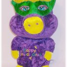 MARDI GRAS: Velvety PURPLE PIG IN MASK Plush Souvenir