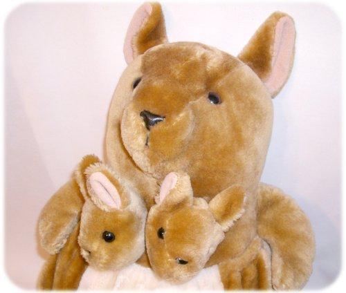 Big PLUSH MAMA KANGAROO & BABIES IN POUCH Stuffed Toy