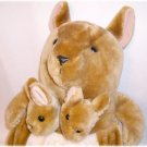 Big PLUSH MAMA KANGAROO & BABIES IN POUCH Stuffed Toy