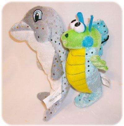 PLUSH SEAHORSE & DOLPHIN Sparkly Stuffed Animals