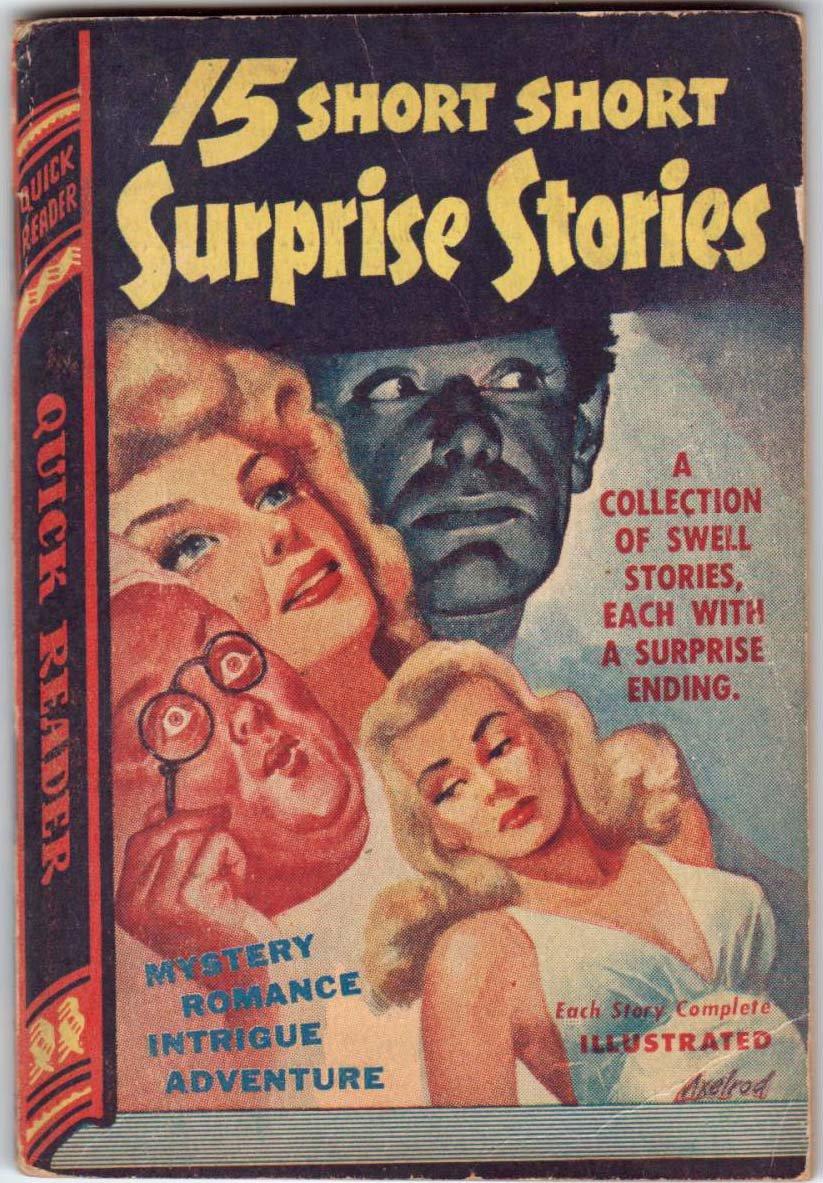 15 Short, Short Surprise Stories, Anthology, Vintage Paperback Book, Quick Reader #124, Mystery, PBO