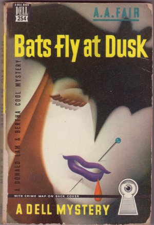 Bats Fly At Dusk, A.A. Fair,Vintage Paperback Book, Dell MapBack #254, Murder Mystery