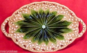 ANTIQUE GERMAN MAJOLICA LILY of the Valley PLATTER c.1882-1891, gm407