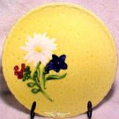 ANTIQUE YELLOW GERMAN FLOWER MAJOLICA POTTERY PLATE, gm294