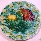 antique majolica plate grapes leaves ornate  c1800-1891, gm343
