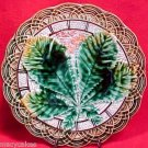 ANTIQUE VILLEROY & BOCH MAJOLICA LEAF PLATEc1882, gm412