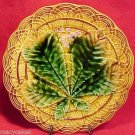 ANTIQUE VILLEROY & BOCH MAJOLICA LEAF PLATE c1882, gm410