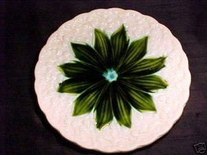 ANTIQUE GERMAN MAJOLICA PLATE Lily of the Valley, gm20