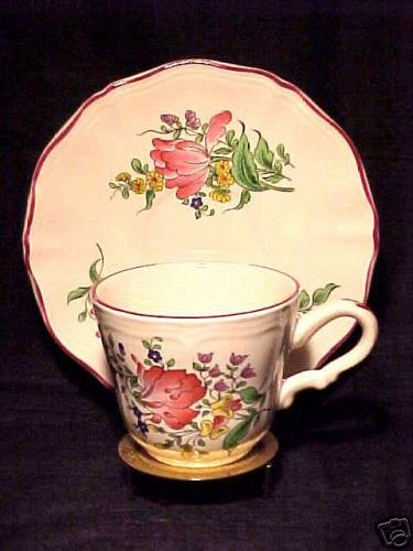 VINTAGE  FRENCH LUNEVILLE FAIENCE  CUP SAUCER, ff43