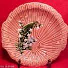 GM544, ANTIQUE GERMAN MAJOLICA POTTERY TRAY LILY OF THE VALLEY