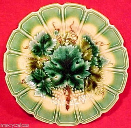 Antique German Sarreguemines Majolica Pottery Plate circa 1886, gm626