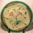 ANTIQUE MAJOLICA POTTERY PLATE NAPKIN AND  PINK FLOWERS, gm209