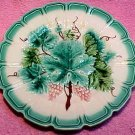 ANTIQUE FRENCH SARREGUEMINES MAJOLICA POTTERY GRAPES AND LEAVES PLATE, fm263