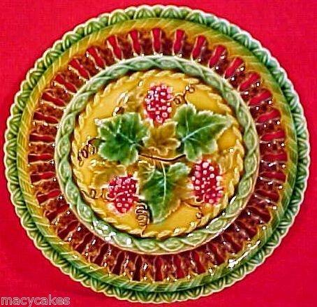 Antique Majolica Pottery Plate Villeroy & Boch c.pre-1882 Wine Leaves, gm610
