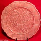 VINTAGE PINK MAJOLICA POTTERY LILY OF VALLEY PLATE, fm383