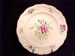ANTIQUE LUNEVILLE MAJOLICA FAIENCE ROSE  PLATE, lun38