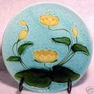 ANTIQUE GERMAN MAJOLICA POTTERY PLATE Lily pad c.1920, gm309