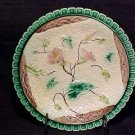 ANTIQUE MAJOLICA POTTERY  PLATE NAPKIN AND PINK FLOWERS V&B, gm72