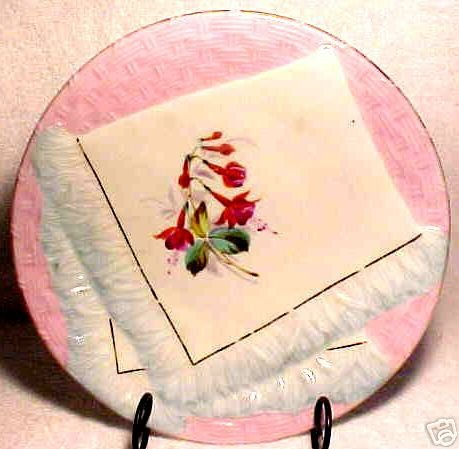 ANTIQUE GERMAN NAPKIN PLATE c.1800's PINK AND BLUE, p12
