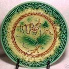 ANTIQUE MAJOLICA POTTERY PLATE GREEN,GOLD, BROWN  c1800's, gm241