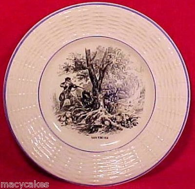 ANTIQUE FRENCH SARREGUEMINES MAJOLICA POTTERY PLATE, fm461