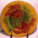 ANTIQUE FRENCH OR GERMAN  MAJOLICA POTTERY PLATE LEAVES, fm322