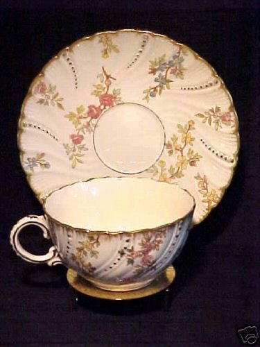 ANTIQUE FRENCH MAJOLICA POTTERY SARREGUEMINES cup and saucer  SET, fm107