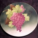 ANTIQUE FRENCH LUNEVILLE MAJOLICA FAIENCE POTTERY GRAPES PLATE, fm450