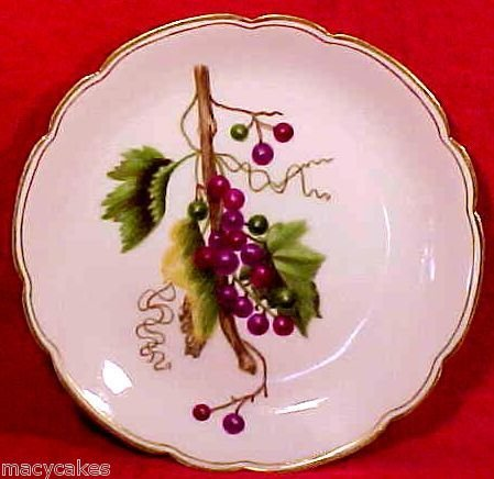 Antique Haviland Limoges Porcelain Pottery Hand Painted Grapes & Leaves, L88