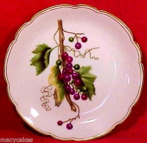 Antique Haviland Limoges Porcelain Pottery Hand Painted Grapes & Leaves, L88