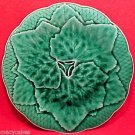 ANTIQUE FRENCH GIEN MAJOLICA POTTERY PLATE LEAVES, fm471