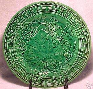 ANTIQUE MAJOLICA Pottery PLATE FERN SOREL FLOWERS GIEN, gm225