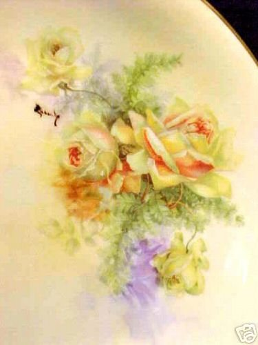 L36,  BEAUTIFUL HANDPAINTED  LIMOGES Porcelain Pottery PLATE c.1900-1910