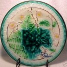 ANTIQUE MAJOLICA Pottery PLATE FERN SOREL PINK FLOWERS VB, gm223