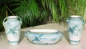 Antique Luneville Faience Majolica Pottery Vases Planter Trio, ff176