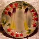 Vintage Handpainted French Asparagus & Lipstick Flowers Majolica Plate, fm177
