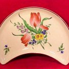 Luneville Faience Majolica Pottery Cresent Salad Plate Tulips, ff236