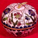 Beautiful Vintage Brass and Enameled Cloisonne Apple, c4