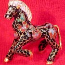 Beautiful Vintage Brass and Enamel Cloisonne Horse, c2