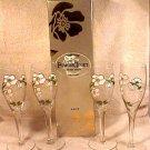 Elegant Hand Enameled French Champagne Flutes set of 4, gl19