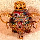 Beautiful Vintage Brass and Enamel Cloisonne Insence Burner, c14