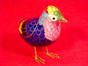 Beautiful Vintage Brass and Enamel Cloisonne Bird Figurine, c7
