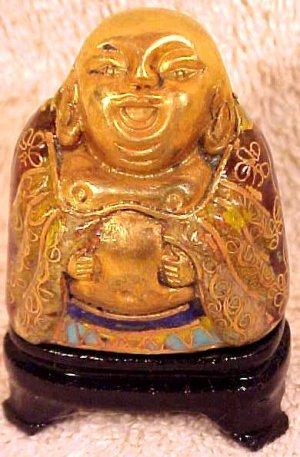 Beautiful Vintage Brass and Enamel Cloisonne Laughing Buddha, c16
