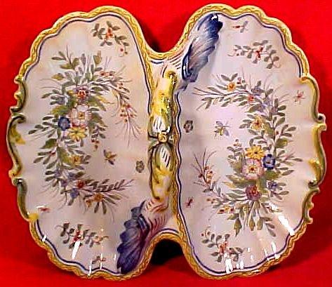 Antique Fourmaintraux Faience Desvres n Quimper Double Lobed Handles Platter, fm660