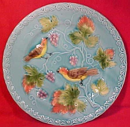 Vintage Majolica Pottery Birds & Grapes Plate, gm696