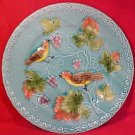 Vintage Majolica Pottery Birds & Grapes Plate, gm696