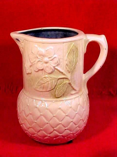 Antique Vintage Floral Majolica Pitcher, fm710