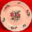 Antique Vintage Luneville Faience Double Tulip Bread & Butter Plate c.1920, LUN66