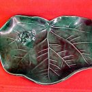 Vintage Green Majolica Lily Pad With Frog Card Holder Plate, gm735