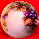 Antique Hand Painted Blackberries & Leaves Fine Porcelain Plate c.1850-1891, p131
